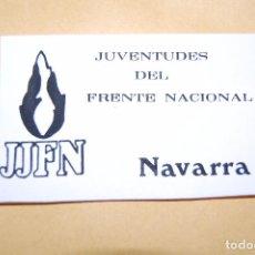 Pegatinas de colección: PEGATINA POLÍTICA. JUVENTUDES DEL FRENTE NACIONAL DE NAVARRA. (PEGATINAS POLÍTICAS). Lote 95222903