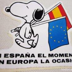 Pegatinas de colección: RARA PEGATINA SNOOPY BANDERA ESPAÑOLA Y EUROPEA. Lote 96081863