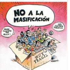 Pegatinas de colección: PEGATINA. 'NO A LA MASIFICACIÓN. DEFIENDE LA PÚBLICA' ELIGE CGT. (TAMAÑO 8 * 12 CMS.). Lote 96710179