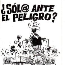 Pegatinas de colección: PEGATINA. '¿SOL@ ANTE EL PELIGRO' ELIGE CGT. (TAMAÑO 8 * 12 CMS.). Lote 96710403