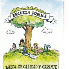 Pegatinas de colección: PEGATINA. 'ESCUELA PÚBLICA. LAICA. DE CALIDAD Y GARANTE DE LA IGUALDAD...' CGT. (TAMAÑO 8 * 12 CMS.). Lote 96710531
