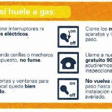Pegatinas de colección: PEGATINA. 'QUE HACER SI HUELE A GAS' GAS NATURAL (TAMAÑO 14.3 * 6.7 CMS.). Lote 96742999