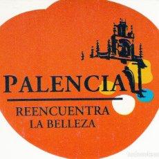 Pegatinas de colección: PEGATINA. 'REENCUENTRA LA BELLEZA' PALENCIA. (TAMAÑO 9 * 7.8 CMS.) FONDO ROJO.. Lote 96744639