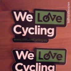 Pegatinas de colección: 2 PEGATINAS ADHESIVOS WE LOVE CYCLING - CICLISMO. Lote 97696547
