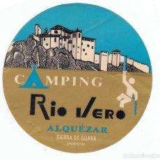 Pegatinas de colección: PEGATINA CAMPING RIO VERO ALQUÉZAR SIERRA DE GUARA HUESCA. Lote 97880727