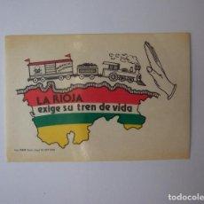 Pegatinas de colección: PEGATINA ADHESIVO. LA RIOJA EXIGE SU TREN DE VIDA. 1988. TDKP12. Lote 98394195