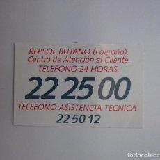 Pegatinas de colección: PEGATINA ADHESIVO REPSOL BUTANO LOGROÑO TELEFONO. TDKP12. Lote 98395399