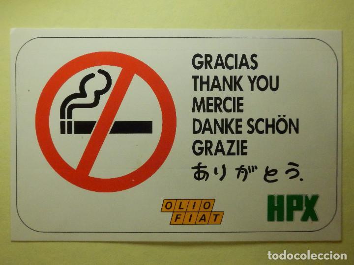 Pegatina Adhesivo Sticker No Fumar Gracias Olio Fiat Talleres Concesionarios 14 X 9 Cm