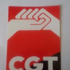 Pegatinas de colección: CGT - PEGATINA POLITICA - LOGO CONFEDERACION GENERAL DEL TRABAJO - 7,5 X 10,5 CM. Lote 103288499