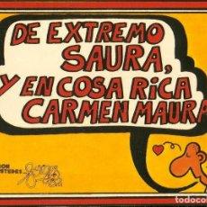 Pegatinas de colección: PEGATINA - ADHESIVO FORGES 82 - EXTREMO SAURA Y COSA RICA CARMEN MAURA - MUNDIAL 1982 ESPAÑA. Lote 104643471