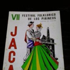 Pegatinas de colección: PEGATINA ADHESIVO VII FESTIVAL FOLCLORICO DE LOS PIRINEOS JACA 1969. Lote 104816051