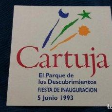 Pegatinas de colección: PEGATINA CARTUJA SEVILLA FIESTA INAUGURACIÓN PARQUE DE LOS DESCUBRIMIENTOS 1993 EXPO. Lote 107753375