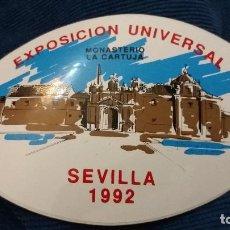 Pegatinas de colección: PEGATINA ESPECIAL OVALADA EXPO 92 EXPOSICIÓN UNIVERSAL SEVILLA 1992 MONASTERIO LA CARTUJA . Lote 107753691