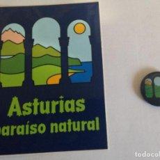 Pegatinas de colección: PEGATINA + PIN ASTURIAS PARAISO NATURAL. Lote 109248107