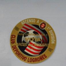 Pegatinas de colección: PEGATINA CLUB DEPORTIVO LOGROÑES. PARA CONTINUAR EN 1ª VOTA MARCOS CON NEGUERUELA 1987. TDKP1. Lote 113854867