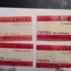 Pegatinas de colección: 4 ANTIGUAS PEGATINAS POLÍTICAS ESTÁ USTED EN ESPAÑA CABALLERO TRATELA CON DIGNIDAD . Lote 117873615