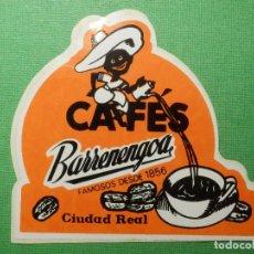 Pegatinas de colección: PEGATINA - ADHESIVO - STICKER - CAFÉS BARRENENGOA - CIUDAD REAL - 8,5 X 9 CM. Lote 122697707