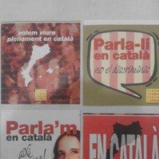 Pegatinas de colección: LOTE 4 PEGATINAS EN DEFENSA DEL CATALAN. PLATAFORMA PER LA LLENGUA. Lote 126798063