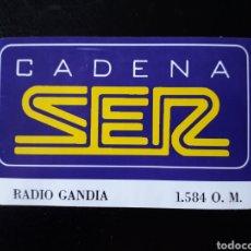 Pegatinas de colección: PEGATINA RADIO GANDIA CADENA SER. AÑOS 90.. Lote 127259415