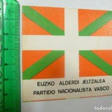 Pegatinas de colección: PEGATINA POLÍTICA VASCA ÉPOCA DE LA TRANSICIÓN PNV IKURRIÑA ENTRE 1977 Y 1980 EUSKADI. Lote 127250283