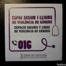 Pegatinas de colección: PEGATINA CAMPAÑA CONTRA LA VIOLENCIA DE GÉNERO DE LA CONSELLERIA DE SANIDAD GENERALITAT VALENCIANA. Lote 127801724
