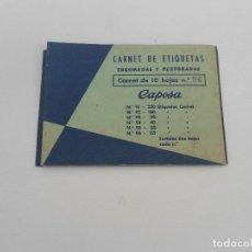 Pegatinas de colección: CARNET DE ETIQUETAS ENGOMADAS CAPOSA. Lote 130442082
