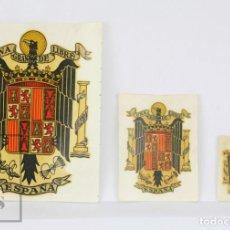 Pegatinas de colección: CONJUNTO DE 3 CALCAMONÍAS - ESCUDO DE ESPAÑA. UNA, GRANDE, LIBRE - AUSTRO IBERA, AÑOS 70. Lote 133710486