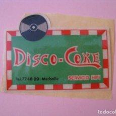 Adesivi di collezione: PEGATINA DISCO-COKE. SERVICIO HIFI. MARBELLA. DESPEGADA DE PAPEL. 8,5X6,2 CM.. Lote 133974374