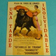 Pegatinas de colección: PEGATINA PLAZA TOROS DE LINARES. GITANILLO DE TRIANA. MANOLETE. DOMINGUÍN. FORMATO 11 X 15 CM. Lote 199003615