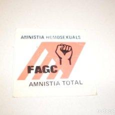 Pegatinas de colección: PEGATINA, PEGATINAS, ADHESIVO, ADHESIVOS FAGC AMNISTÍA HOMOSEXUALES 1977 FAGC. Lote 138814502