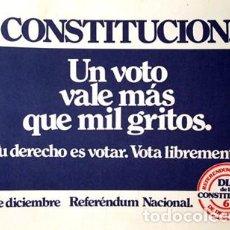 Pegatinas de colección: REFERENDUM CONSTITUCION ESPANOLA. BUEN ESTADO. PEGATINA GRANDE ORIGINAL DE 1978. Lote 183559932