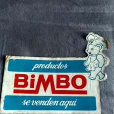 Pegatinas de colección: ADHESIVO PEGATINA DE PRODUCTOS BIMBO SE VENDEN AQUI GRANDE DE 28X22.CENTIMETROS SIN PEGAR EN REGULAR. Lote 142941938