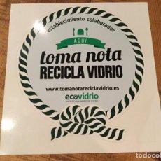 Pegatinas de colección: PEGATINA ADHESIVO ECOVIDRIO ,TOMA NOTA RECICLA VIDRIO. Lote 144798002