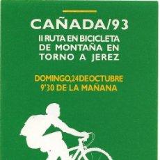 Pegatinas de colección: II RUTA EN BICICLETA DE MONTAÑA JEREZ 1993. Lote 155986222