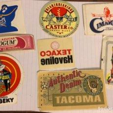 Pegatinas de colección: LOTE DE 8 PEGATINAS DE LOS 80S DE MARCAS. DEPORTIVAS, CHICLES, ROPA,... Lote 156006601