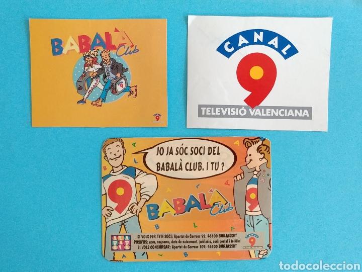 3 ADHESIVOS DE CANAL 9 ( ANTIGUA TELEVISIÓN VALENCIANA) PEGADOS SOBRE UNA CARTULINA (Coleccionismos - Pegatinas)