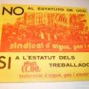 Pegatinas de colección: PEGATINA, PEGATINAS ADHESIVO, ADHESIVOS CCOO CATALUÑA HACIA 1979. Lote 164870134