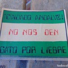 Pegatinas de colección: PEGATINA POLITICA CUIDADO ANDALUZ NO NOS DEN GATO POR LIEBRE. Lote 170298516