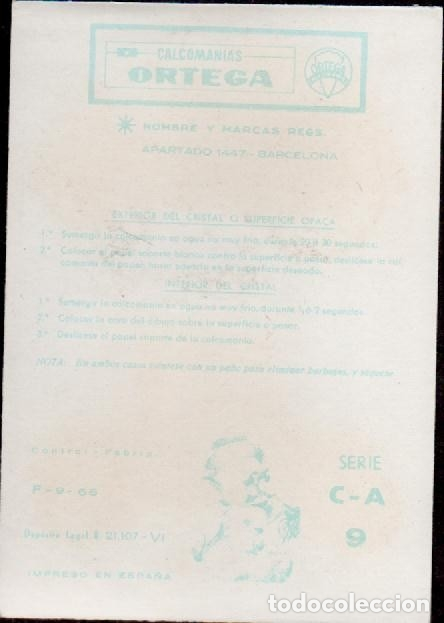 Pegatinas de colección: C17-1-9 Control F-9-66 Calcomanias ORTEGA Automoviles ANTIGUOS Serie C - A Nº 9. - Foto 2 - 173614994