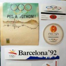 Pegatinas de colección: LOTE 6 PEGATINAS BARCELONA 92 JJ.OO. (NUNCA ENGANCHADAS). Lote 174394093