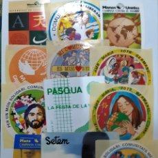 Pegatinas de colección: LOTE 12 PEGATINAS DE TEMAS RELIGIOSOS DE LOS AÑOS 80. (NUNCA ENGANCHADAS). Lote 174592508