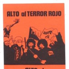 Pegatinas de colección: PEGATINA. ALTO AL TERROR ROJO. FRENTE NACIONAL DE LA JUVENTUD. Lote 176926312