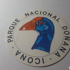 Pegatinas de colección: ICONA. PARQUE NACIONAL DOÑANA. NUEVA SIN PEGAR. AÑOS 70/80. Lote 178261277