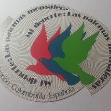 Pegatinas de colección: COLOMBOFILA. MI DEPORTE: LAS PALOMAS MENSAJERAS.. Lote 178262253