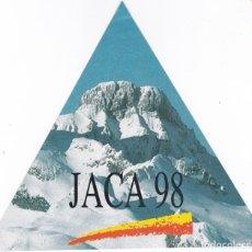 Pegatinas de colección: PEGATINA TRIANGULAR JACA 98. Lote 178388386