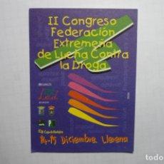 Pegatinas de colección: PEGATINA 2 CONGRESO EXTREMEÑO LUCHA CONTRA DROGA. Lote 178626007