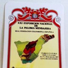 Pegatinas de colección: ANTIGUA PEGATINA - XXI EXPOSICIÓN NACIONAL DE LA PALOMA MENSAJERA 1987. Lote 178650525