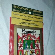 Pegatinas de colección: ESCUDOS DE ESPAÑA DOBLE CARA ADHESIVO GRANADA. Lote 178828851