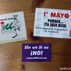 Pegatinas de colección: LOTE 3 PEGATINAS POLITICAS - UGT - IZQUIERDA UNIDA. Lote 179094965