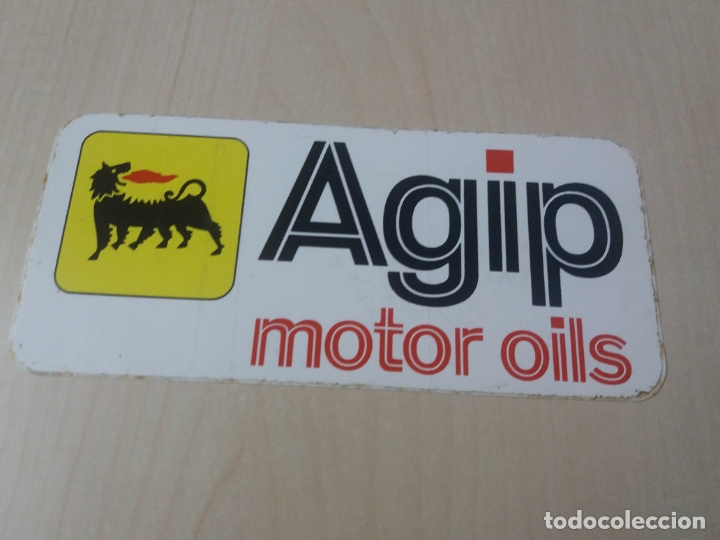 PEGATINA MOTOR AGIP MOTOR OILS - 13 CM (Coleccionismos - Pegatinas)